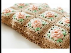 We love the exquisite idea of these elegant crochet roses that are blooming from each square and asking for your attention and for compliments. This beautiful crochet rose granny square afghan pattern is definitely a work of Motifs Granny Square, Crochet Motifs, Granny Square Crochet Pattern, Crochet Squares, Crochet Stitches, Granny Squares, Beau Crochet, Crochet Puff Flower, Crochet Flower Patterns