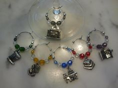 Librarian Library of Science  Wine Charms w pouch by pchum on Etsy, $18.00