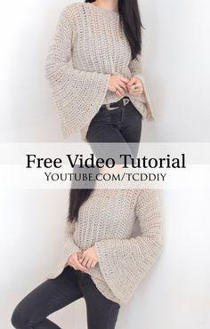 Modern Crochet, Easy Crochet, Tutorial Crochet, Crochet Shirt, Knit Crochet, Crochet Tops, Crochet Bikini, Crochet Clothes, Diy Clothes