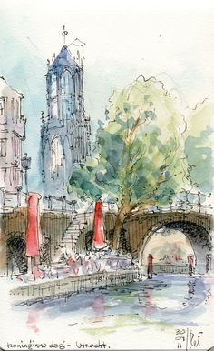 https://flic.kr/p/9E3brq | Utrecht | Koninginnedag, Queens day, which was last Saturday, April 30th.  I drew this sipping coffee on a terrace next to one of the canals: it shows the highest (gothic) churchtower of the Netherlands.