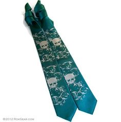 Teal and silver skull narrow necktie mens 3 inch wide by RokGear.com customer service RokGear@gmail.com   off and on Etsy at https://www.etsy.com/shop/rokgear
