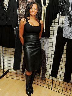 Mel b black dress leather