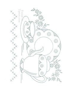 Vintage Tea Towel Embroidery Designs Free | Vintage Embroidery Designs: Dishware Set : TipNut.com