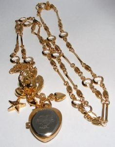 Kirks Folly Watch Pendant NECKLACE Crystals Charms costume jewelry