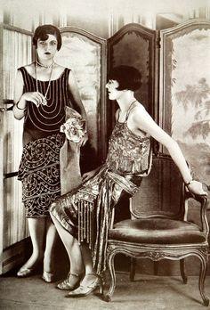 "les-modes: "" Evening gowns by Blanche Lebouvier, Les Modes January 1927. Photo by G.L. Manuel Frères """