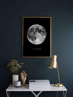 82 Cozy Bedroom Ideas With Shooting Color Cozy Bedroom, Bedroom Decor, Bedroom Ideas, Print Moon, Art Mural, Decor Interior Design, My Room, Wall Prints, Printable Wall Art