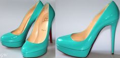 Christian Louboutin. In the same color as a Tiffany's blue box!