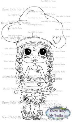 INSTANT DOWMLOAD Digital Digi Stamps Big Eye Big Head Dolls Digi  My Besties IMG051 By Sherri Baldy
