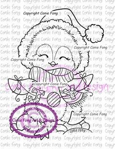 Digital Stamp, Digi Stamp, digistamp, Joy to the World by Conie Fong, Penguin… Christmas Colors, Christmas Crafts, Hand Coloring, Coloring Books, Penguin Coloring Pages, Unicornios Wallpaper, Fun Crafts, Paper Crafts, Christmas Paintings