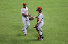CrowdCam Hot Shot: Cincinnati Reds relief pitcher Aroldis Chapman is congratulated by catcher Ryan Hanigan after defeating the Houston Astros 6-5 at Minute Maid Park. Photo by Troy Taormina