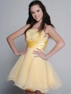 Daffodil Strapless Beaded Net Satin Short Summer Prom Homecoming Dress