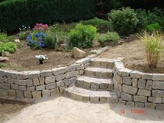 Muschelkalk dry stone natural stones drywall quarry stones pebbles in Backyard Retaining Walls, Outdoor Fireplace Patio, Front Yard Patio, Beautiful Home Gardens, Mailbox Landscaping, Tiered Garden, Dry Stone, Garden Steps, Terrace Garden