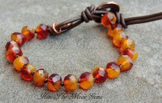 Knotted Czech Glass Bracelet in Red and Orange