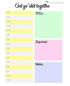 """studyforgreatness: """" FREE DAILY PLANNER PRINTABLE Hey guys! I made this daily planner this morning for myself, and thought some of you might be able to benefit from it? So here you go! Features: •..."""