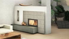 Moderner Kachelofen mit Sichtfenster und Keramik mit Tapetenoptik Fireplaces, Relax, Home Decor, Tiling, Tile, House Design, Wallpapers, Living Room, Fireplace Set