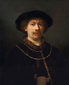 Rembrandt Selfportrait wearing a hat and two Chains ThyssenBornemisza Museum Madrid Spain Rembrandt Self Portrait, Rembrandt Art, Rembrandt Paintings, Oil Portrait, Portrait Paintings, Pencil Portrait, List Of Paintings, Most Famous Paintings, Digital Museum
