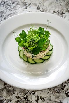Crab Tian, Cucumber and Wasabi, Avocado Puree - Temptation For Food #crab #foodplating