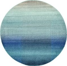 Modern Abstract 6-Feet by 6-Feet (6' x 6') Round Barcelona Blue Contemporary Area Rug