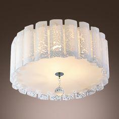 Elegant Drum Acrylic Shade Flush Mount Ceiling Light with Single Crystal Strand
