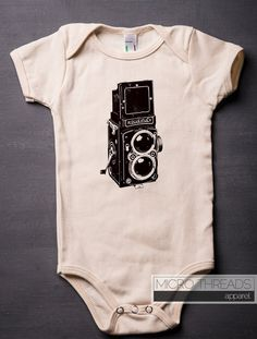 """FREE SHIPPING! Celebrate Photography! This is a vintage-style rendering of a classic twin-lens Rolleiflex Box Camera. This bodysuit is made with a high-quality (thick) Organic Cotton (""""natural"""" option"""