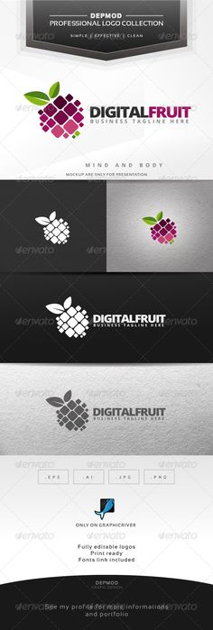 Digital Fruit - Logo Design Template Vector #logotype Download it here: http://graphicriver.net/item/digital-fruit-logo/6424359?s_rank=412?ref=nesto