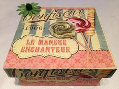 caja de madera decorada mod. confiseur madera,papel decoupage