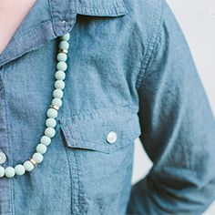 Simple necklace using painted wood beads and hex nuts!