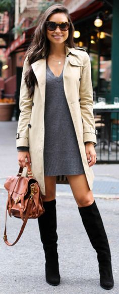 Kat Tanita + classic beige trench + ultimate match + V neck sweater dress + knee high boots+ sophisticated yet sexy  Dress: Calypso St. Barth, Trench: Burberry, Boots: M. Gemi, Bag: Proenza Schouler.
