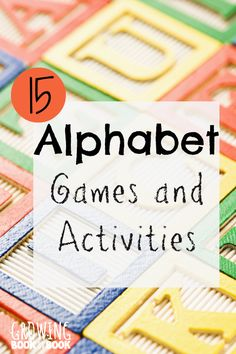 Alphabet games and activities to help children learn letters and sounds from growingbookbybook.com