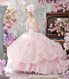 fabulous princess wedding dress pink <3 magnificent pink wedding gown