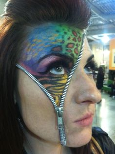 "Zipper face. Letting out her ""wild side"". Check out www.facebook.com/ErinAlexandraMakeupArtistry"
