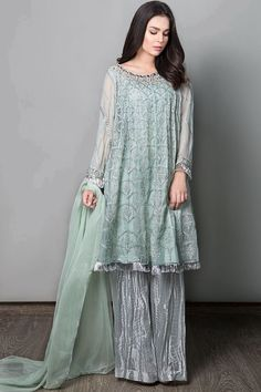 Latest Maria B Pret Stitched Summer Dresses Designs Collection consists of casual day wear & evening wear ready to wear suits in lawn, chiffon, Engagement Dress For Girl, Pakistani Engagement Dresses, Pakistani Wedding Outfits, Pakistani Dresses, Shadi Dresses, Engagement Makeup, Wedding Hijab, Wedding Dresses, Stylish Dresses