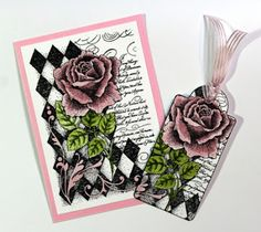 Quick and easy card & gift tag created with the Harlequin Rose stamp from Chocolate Baroque. Beads Direct, Baroque Design, How To Make Paper, Paper Design, Paper Cutting, Paper Flowers, Gift Tags, Cardmaking, Birthday Cards