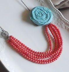 Aqua Rosette Multistrand Necklace by AdornmentsbyWendi on Etsy, $24.00