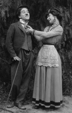 "Charlie Chaplin and Minta Durfee (Roscoe ""Fatty"" Arbuckle's wife) in 1914"