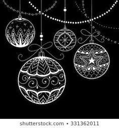 Photo about Hand drawn Christmas background, vector illustration. Illustration of celebrate, star, decorated - 21099604 Diy Christmas Garland, Diy Garland, Noel Christmas, Christmas Baubles, Christmas Crafts, Christmas Decorations, Chalk Pens, Chalk Art, Hand Illustration