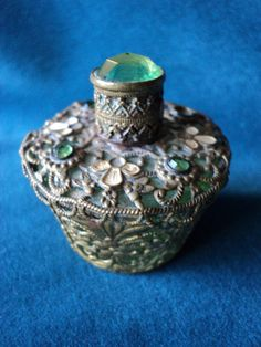 Antique Czech Perfume Perfum Filligree Ormulu Stone by Bellasoiree