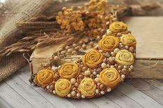 Textile roses Necklace | Купить Колье «Горчичные розы» в интернет магазине на Ярмарке Мастеров