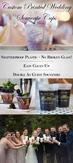 Avoid the added expense of breakage and cleanup of glass drinkware at your wedding reception. Reusable frosted plastic cups personalized with a design or monogram, the bride and groom's name and wedding date are shatterproof so there's no broken glass to clean up and they make great wedding souvenirs guests can take home and use again. Personalized shatterproof cups can be ordered at http://myweddingreceptionideas.com/personalized_plastic_cups.asp