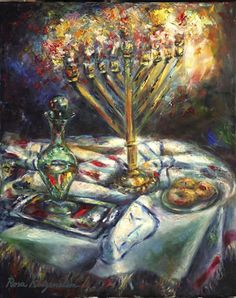 Artist's Statement: The Chanukah picture expresses the quintessence of the pure oil in our souls. In my painting, the brushwork depicts forms with suggestive use of color in concentrated strokes that enhances the light from within. Hanukkah Pictures, Hanukkah Traditions, Arte Judaica, Jewish Festivals, Biblical Art, Pure Oils, Jewish Art, 5d Diamond Painting, Menorah