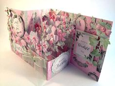Side view of pop-up Z card created by Nicky for Craftwork Cards using Shabby Chic collection
