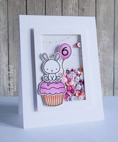 Mama Elephant Carnival Cupcake stamp set and dies; My Favorite Things Rectangle die-namics.  Child's birthday