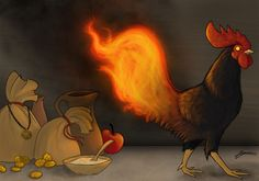 Aitvaras is a household spirit in Lithuanian mythology. One of his forms is black rooster with fiery tail. He can bring gold and o. Mythological Creatures, Fantasy Creatures, Mythical Creatures, Literary Elements, Urban Legends, Lithuania, Fantastic Beasts, Deities, Fairy Tales