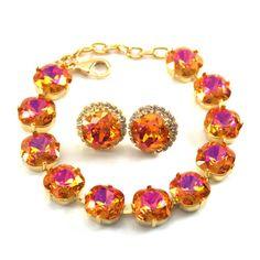 Bracelet and Earrings Set Crystal Jewelry by LittleDesirezJewelry