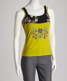 Take a look at this Lime Green Floral Tank - Women on zulily today!
