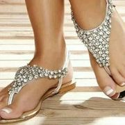 Shoespie Shining Rhinestones Beading Flat Sandals