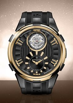 Perrelet's signature expertise and creativity PERRELET Turbine and Tourbillon Black & Gold Ltd Ed (See more at: http://watchmobile7.com/articles/perrelet-turbine-and-tourbillon-black-gold-ltd-ed) (3/5) #watches #perrelet #perreletwatch @Koichi Hayashi Perrelet