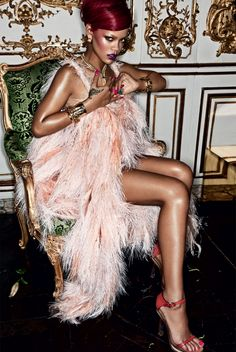 Rhianna in feathers - oh so soft!