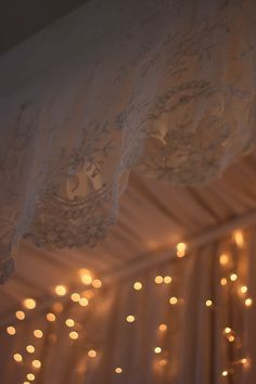 Antique Bed Canopy w/ mini lights. Canopy, Bed Canopies, Cottage Curtains, Brides Room, Antique Beds, Mood Light, Dream Bedroom, Fairy Lights, Decoration