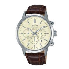 Seiko ALBA Original Leather Band Chronograph Casual Watch Wristwatches AT3987X1 #SeikoALBA #Casual